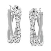 Picture of 1.00CT RD DIAMOND SET IN 10KT WHITE GOLD LADIES HOOP EARRING
