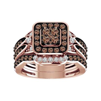 Picture of 1.00CT RD/CHOCO DIAMONDS SET IN 14KT ROSE GOLD BRIDAL RING