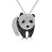 Picture of 0.25CT RD/BLCK DIAMONDS SET IN SILVER LADIES PENDANT