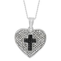 Picture of 0.35CT RD/BLK DIAMONDS SET IN SILVER LADIES HEART PENDANT
