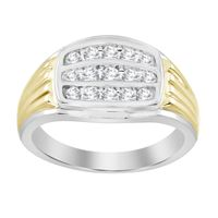 Picture of 0.50CT RD DIAONDS SET IN 10KT TT WHITE & YELLOW GOLD MENS RING