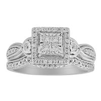 Picture of 0.33CT RD/PC DIAMOND SET IN 10KT WHITE GOLD LADIES BRIDAL RING