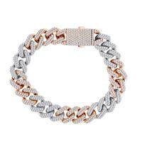 Picture of 11.00CT RD DIAMONDS SET IN 10KT TT WHITE & ROSE GOLD MENS BRACELET