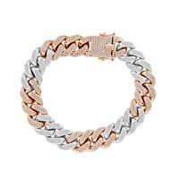 Picture of 7.65CT RD DIAMONDS SET IN 10KT TT WHITE & ROSE GOLD MENS BRACELET