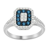 Picture of 0.80CT RD/BLUE DIAMONDS SET IN 14KT WHITE GOLD LADIES RING