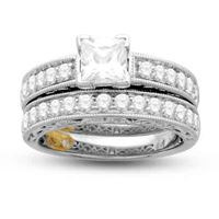 Picture of 1.50CT RD/PC CTR-0.75CT PRINCESS CUT DIAMONDS SET IN 14KT WHITE GOLD LADIES BRIDAL RING