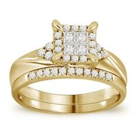 Picture of 0.50CT RD/PC DIAMONDS CTR 0.20CT SET IN 14KT YELLOW GOLD LADIES RING