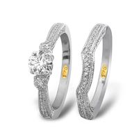 Picture of 1.25CT CNTR-0.62CT DIAMONDS SET IN 14KT WHITE GOLD LADIES BRIDAL RING