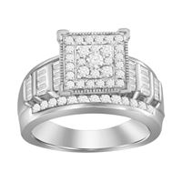 Picture of 0.50CT RD/BGT DIAMONDS SET IN 10KT WHITE GOLD LADIES RING