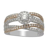 Picture of 1.00CT RD DIAMONDS CNTR-0.30CT SET IN 14KT TT WHITE & ROSE GOLD LADIES RING
