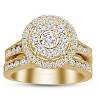 Picture of 1.50CT RD DIAMONDS SET IN 14KT YELLOW GOLD LADIES BRIDAL SET