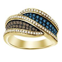 Picture of 0.75CT RD/BLUE/CHOCOLATE DIAMOND SET IN 10KT YELLOW GOLD LADIES BAND