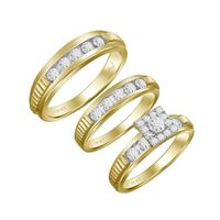 Picture of 0.25CT RD DIAMONDS SET IN 10KT YELLOW GOLD LADIES TRIOS RING