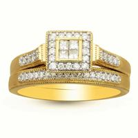 Picture of 0.35CT RD/PC DIAMONDS SET IN 14KT YELLOW GOLD LADIES BRIDAL SET