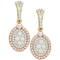 Picture of 0.85CT RD DIAMONDS SET IN 14KT TTT WHITE,YELLOW & ROSE LADIES EARRING