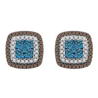 Picture of 0.75CT RD/BLUE/CHOCOLATE DIAMONDS SET IN 10KT ROSE GOLD LADIES EARRING