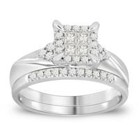Picture of 0.50CT RD/PC DIAMONDS CTR 0.20CT SET IN 14KT WHITE GOLD LADIES RING