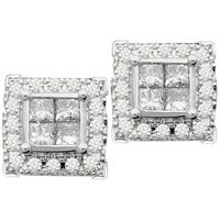 Picture of 1.00CT RD/PC INV DIAMONDS SET IN 10KT WHITE GOLD LADIES EARRINGS