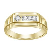 Picture of 0.15CT RD/PC DIAMONDS SET IN 10KT YELLOW GOLD MENS RING