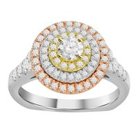 Picture of 1.25CT RD DIAMONDS CTR 0.33CT BLUE DIAMONDS SET IN 14KT TTT WHITE,YELLOW & ROSE GOLD LADIES RING