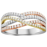 Picture of 0.50CT RD DIAMONDS SET IN 14KT TTT WHITE,YELLOW & ROSE GOLD LADIES BAND