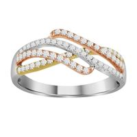Picture of 0.50CT RD DIAMONDS SET IN 14KT TTT WHITE,YELLOW & ROSE GOLD LADIES RING