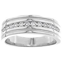 Picture of 0.25CT RD DIAMONDS SET IN 14K WHITE GOLD MACHINE SET  MENS BAND