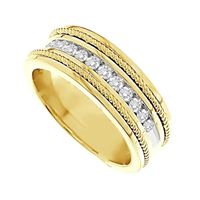 Picture of 0.50CT RD DIAMONDS SET IN 14KT YELLOW GOLD MACHINE SET MENS BAND