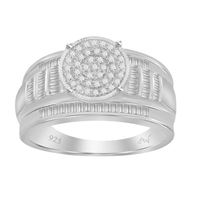 Picture of 0.50CT RD/BGT DIAMONDS SET IN SILVER LADIES RING