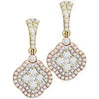 Picture of 0.85CT RD DIAMONDS SET IN 14KT TTT WHITE,YELLOW & ROSE LADIES EARRINGS
