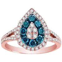 Picture of 0.75CT RD/BLUE DIAMONDS SET IN 14KT ROSE GOLD LADIES RING