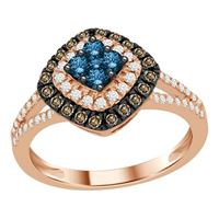 Picture of 0.75CT RD/CHOCOLATE/BLU DIAMONDS SET IN 10KT ROSE GOLD LADIES RING