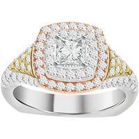 Picture of 1.25CT TD DIAMONDS CTR 0.33CT BLUE DIAMOND SET 14KT TTT WHITE,YELLOW & ROSE GOLD LADIES RING