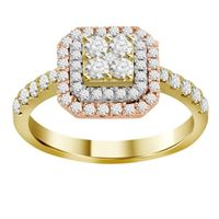 Picture of 0.75CT RD DIAMONDS SET IN 14KT TTT WHITE YELLOW & ROSE GOLD LADIES RING