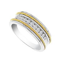 Picture of 0.50CT RD DIAMONDS SET IN 14K WHITE & YELLOW GOLD MACHINE SET MENS BAND