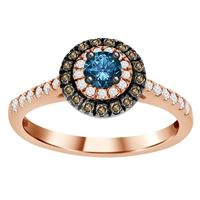 Picture of 0.55CT RD/BLUE/CHOC DIAMONDS SET IN 14KT ROSE GOLD LADIES RING