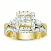 Picture of 0.75CT RD/PC DIAMONDS SET IN 14KT YELLOW GOLD LADIES BRIDAL RING