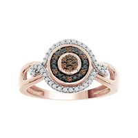 Picture of 0.20CT RD/CHOCO DIAMONDS SET IN 10KT ROSE GOLD LADIES RING