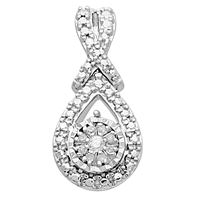 Picture of 0.05 CT ROUND DIAMOND SET IN 10 KT WHITE GOLD LADIES PENDANTS