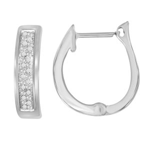 Picture of 0.10CT RD DIAMONDS SET IN SILVER HOOP EARRING