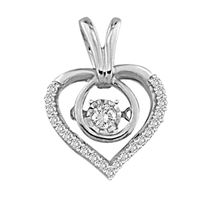 Picture of 0.15CT RD DIAMONDS SET IN 10KT WHITE GOLD LADIES HEART PENDANT