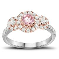 Picture of 0.75CT RD/ROSE DIAMONDS WITH CTR-0.33CT SET IN 14KT TT WHITE & ROSE GOLD LADIES RING