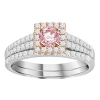 Picture of 0.80CT RD/ROSE DIAMONDS SET IN 14KT WHITE & ROSE GOLD LADIES BRIDAL SET