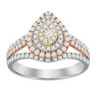 Picture of 0.75CT RD DIAMONDS SET IN 14KT TRI WHITE,YELLOW & ROSE GOLD LADIES RING