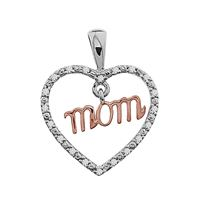 Picture of 0.06CT RD DIAMONDS SET IN SILVER WITH ROSE GOLD LADIES HEART PENDANT