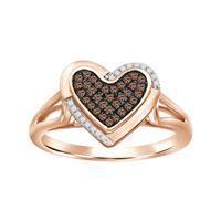 Picture of 0.15CT RD/CHOCO DIAMONDS SET IN SILVER WITH ROSE GOLD PLATED LADIES RING