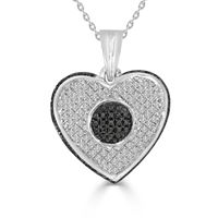 Picture of 0.26CT RD/BLK DIAMONDS SET IN SILVER LADIES HEART PENDANT