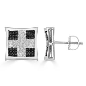 Picture of 0.33CT RD/BLCK DIAMONDS SET IN SILVER KITE EARRING