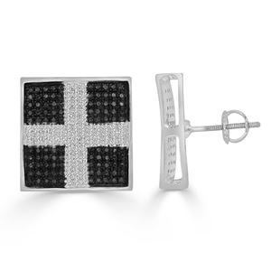 Picture of 0.51CT RD/BLCK DIAMONDS SET IN SILVER SQUARE EARRING