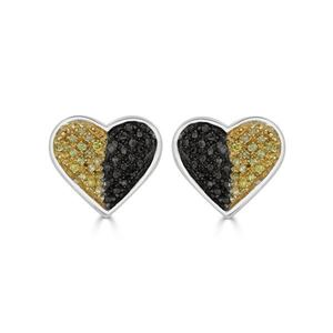 Picture of 0.11CT RD/BLCK/CANARY DIAMONDS SET IN SILVER LADIES EARRING